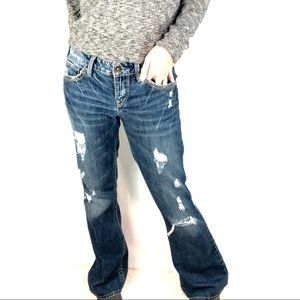 Silver jeans Aiko Sz 28/33 flare distressed 32/31